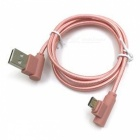 90 Degree Braided Micro USB Charging and Data Transfer Cable - Pink