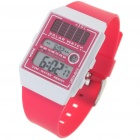 Solar Power 30M Waterproof Watch with Date Display/Stopwatch/Alarm Clock - CR2016/3V (Pink)