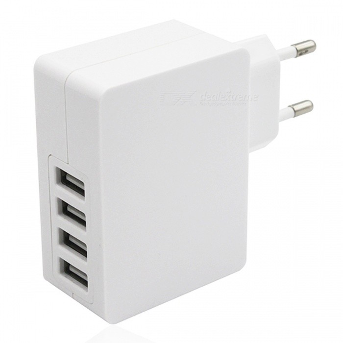 USB 2.0 4-Port 5V Fast-Charging EU Plug Power Charger - White