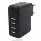 USB 2.0 4-Port 5V Fast-Charging EU Plug Power Charger - Black