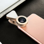 3 in 1 Optical Glass Lens HD Wide-angle Lens Macro-lens - Golden