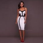 European And American Women Stitching Sexy Halter Dress - White (XL)