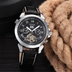 MCE Unisex Mechanical Watch with Leather Strap - Silver