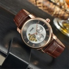 MCE Unisex Mechanical Watch with Leather Strap - Bronze
