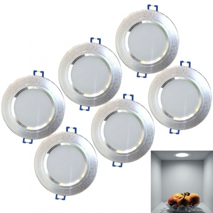 Lampes de plafond LED Downlight LED ColdOoLight 3W, AC85-265V, 6PCS
