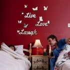 JMT-02 Live Love Laugh English Letters Butterfly Mirror Wall Stickers