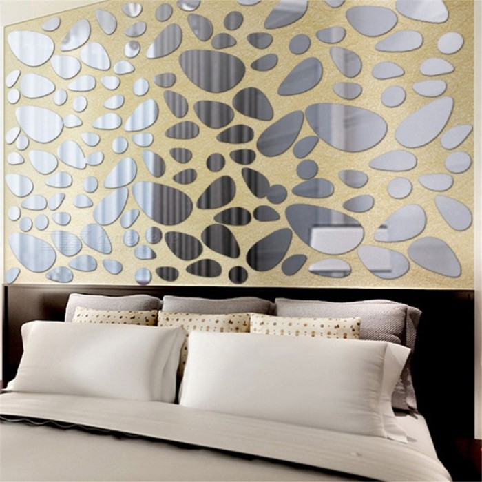 JMT-03 Pebbles Acrylic Stereo Mirror Wall Stickers - Argent