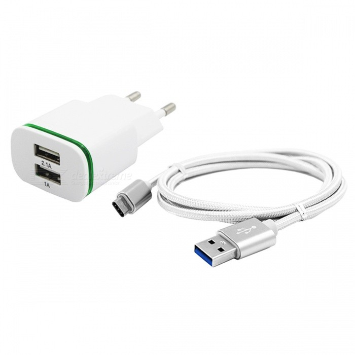 2-Port 5V Fast-Charging EU Plug Power Charger, Type C Cable - WhiteCar Power Chargers<br>Form  ColorWhiteModelN/AMaterialABSQuantity1 setCompatible ModelsSamsung / Huawei / LG / OPPOInput Voltage100-240 VOutput Current2.1 AOutput Power10.5 WOutput Voltage5 VPower AdapterOthers,EU PLUGCable Length100 cmLCD displayNoLED IndicatorYesCable Length100 cmPacking List1 x Charger 1 x Cable<br>