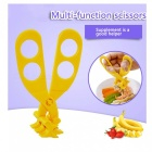 Multifunctional Tableware Baby Food Cutting Scissors - Yellow
