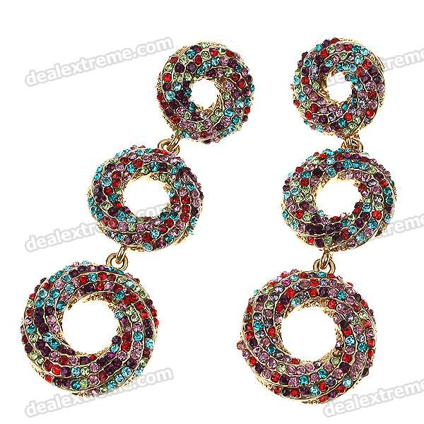 Stylish Crystal Alloy Earrings - Colorful (Pair) stylish zinc alloy colorful rhinestones earrings for women silver pair