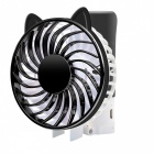Ventilateur de charge mini USB à 3 modes pliable - noir