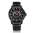 NAVIFORCE 9085 Men's Sports Army Leather Wrist Quartz Watch - Black