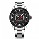 NAVIFORCE 9085 Men's Sports Leather Wrist Quartz Watch - Silver, Black