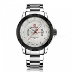 Luxury Fashion Men's Military Stainless Steel Watch with Date Clock Display, Water Resistant 30m