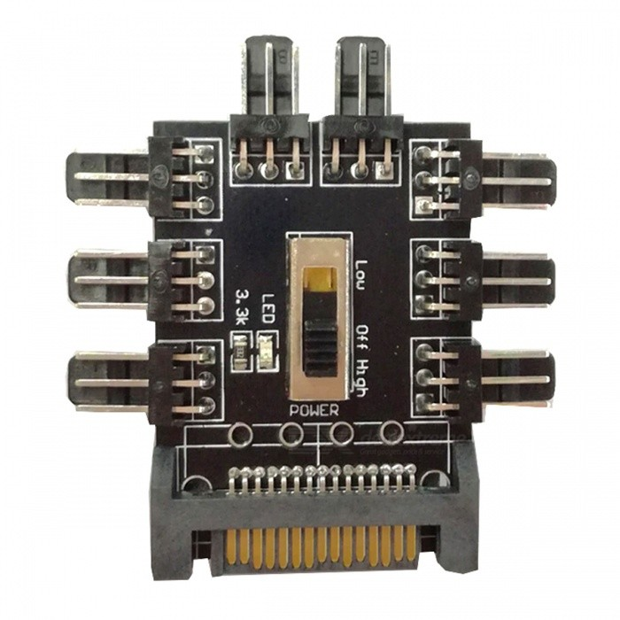 SATA Powered 8-Channel 3Pin Fan Hub - BlackBoards &amp; Shields<br>Form  ColorBlackModelSATAQuantity1 setMaterialPCBA boardEnglish Manual / SpecYesDownload Link   1. Applicable products: for 12V 3Pin fan. 2. Power interface: SATA interface power supply. 3. Support: support 8-way 3Pin fan at the same time start, can solve the motherboard interface is insufficient, and centralized processing fan cable. 4. EVA double-sided adhesive on the back, the hub can be fixed on the chassis. 5. With no speed and PWM function, you can manually adjust the gear, full speed [high] or low speed [low] start the fan, you can also turn off the fan.Packing List1 x SATA Power supply Hub1 x Manual<br>