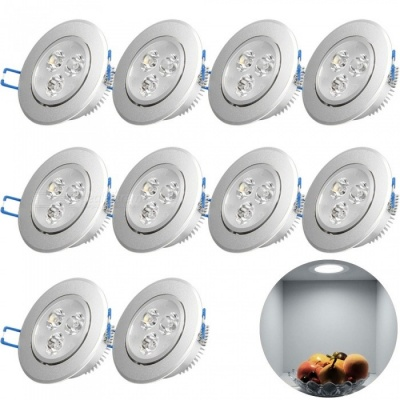 YouOKLight 3W Cold White LED Downlight Ceiling Lamps, AC85-265V, 10PCS