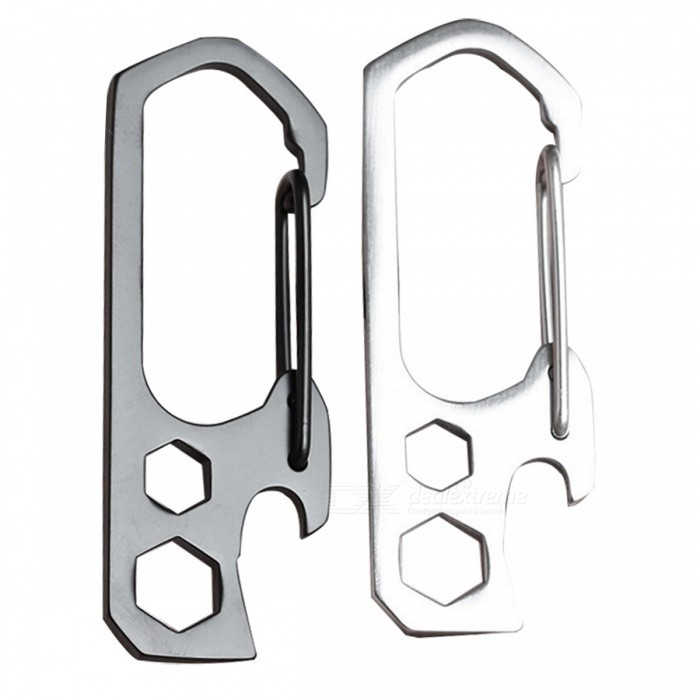 3-in-1 Multi-function Stainless Steel Climbing Buckles - Silver (2PCS)