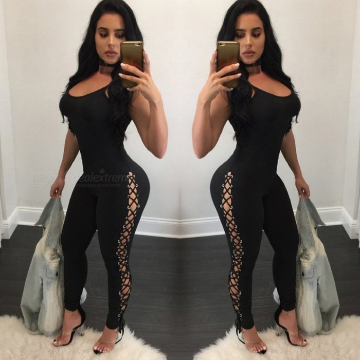 Ladies Sexy Slim Strap Tying Spandex Siamese Pants - Black (XL)Pants &amp; Leggings<br>Form  ColorBlackSizeXLQuantity1 setShade Of ColorBlackMaterialSpandexPants ShapeOthers,Tight pantsStyleFashionTotal Length135 cmThigh Girth58 cmPacking List1 x Siamese pants<br>