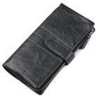 GUBINTU Cowhide Leather Horizontal Style 2-Fold Wallet Purse - Black