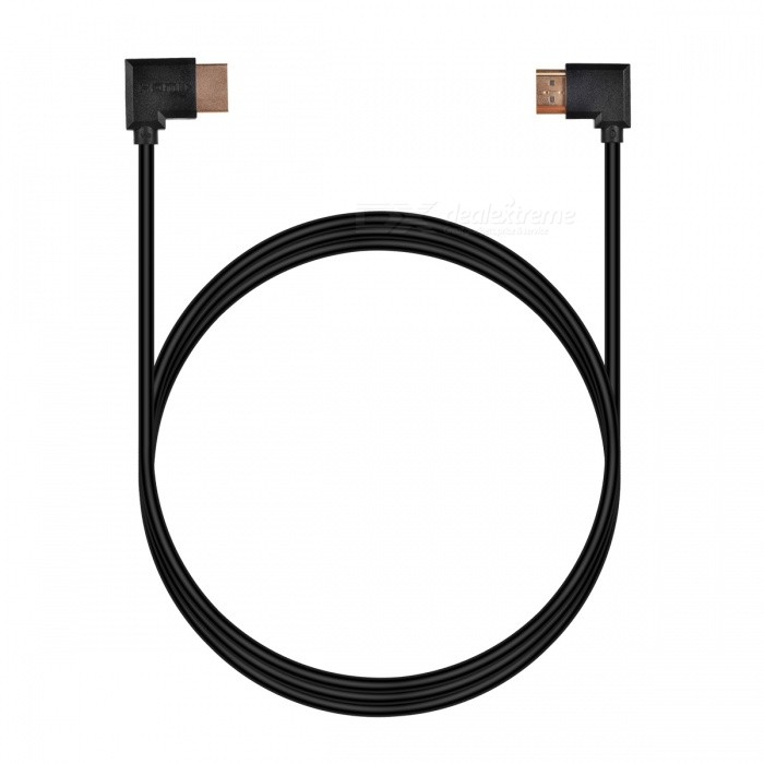 Cwxuan Dual 90 Degree HDMI V1.4 Male to Male Connection Cable (180cm)Audio And Video Cables<br>Form  Color(180cm) - BlackMaterialABSQuantity1 pieceShade Of ColorBlackCable Length180 cmConnector GenderMale to MaleConnectorHDMIPacking List1 x HDMI cable<br>