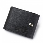 JIN BAO LAI Folded Leather Wallet with Coin Pocket for Men - Black