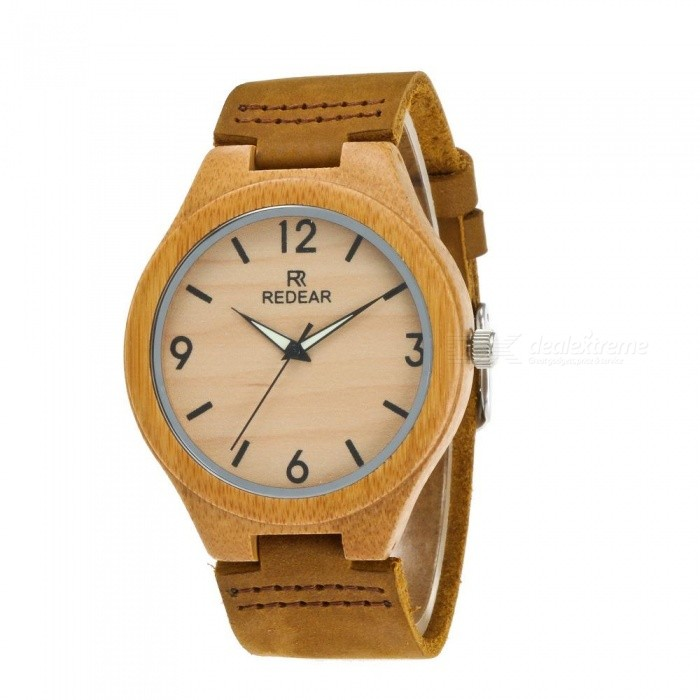 REDEAR 1473 Muotikvartsi Analoginen Bamboo Watch for Men - Vaaleankeltainen