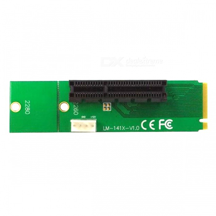M.2 NGFF to PCI-E X4 Adapter Card - Green
