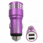 Retractable Dual USB DC12-24V Safety Hammer Charger - Purple