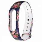 Blue Rose Pattern Replacement TPU Wrist Band for Xiaomi MI Band 2