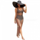 Sexig Mesh Front Leg Open Knit Beach Bikini Sunset Cover Kläder (M)