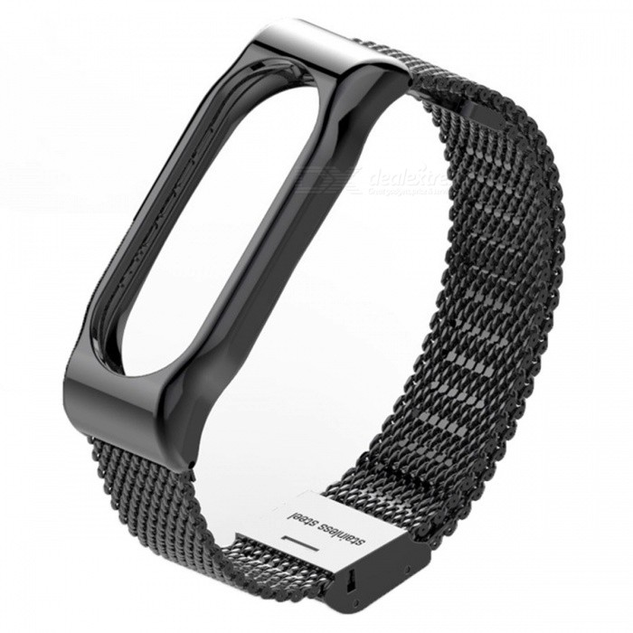 Metal Steel Mesh Case Watch Strap for Xiaomi Miband 2 - BlackWearable Device Accessories<br>Form  ColorBlack(Steel Mesh)Quantity1 setMaterial316 stainless steelPacking List1 x Watch Strap<br>