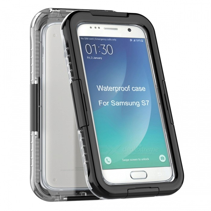 Waterproof Swimming Diving Case for Samsung Galaxy S7 - BlackWaterproof Cases<br>Form  ColorBlackQuantity1 pieceMaterialTPU + PCShade Of ColorBlackWaterproof LevelOthers,IP68Compatible ModelsSamsung Galaxy S7Suitable forCamping,Boating,Fishing,Diving,Swimming,Skiing,Rainy DaysTouch Control via CaseYesPacking List1 x Case1 x Tether strap<br>