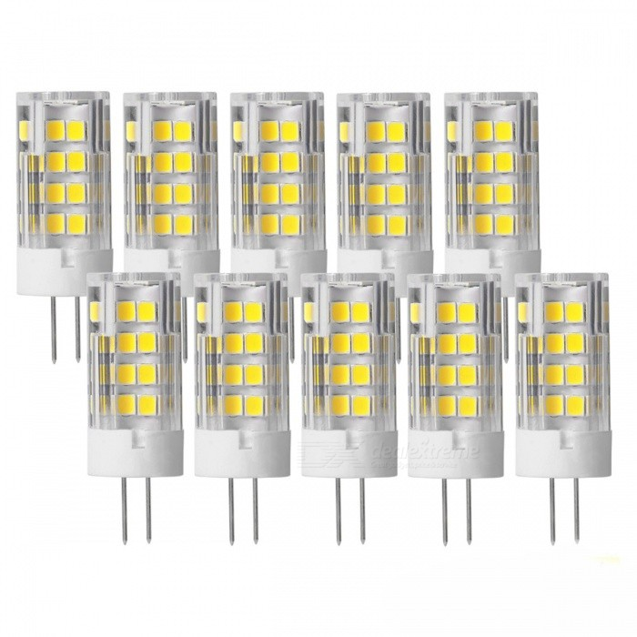 JRLED G4 5W Cold White 51-SMD2835 LED Light Lamps (10 PCS)G4<br>Color BINCold WhiteMaterialCeramic + PCForm  ColorWhite + Yellow + Multi-ColoredQuantity10 piecesPower5WRated VoltageOthers,AC/DC12 VConnector TypeG4Chip BrandEpistarChip Type2835 SMDEmitter TypeOthers,2835 SMDTotal Emitters51Theoretical Lumens600 lumensActual Lumens500 lumensColor Temperature6000KDimmableNoBeam Angle360 °WavelengthN/ACertificationCE ROHSOther FeaturesSmall size, high brightness, AC/DC12V power supply 5W replace 30W 12V halogen lightPacking List5 x G4 12V LED Lamps<br>