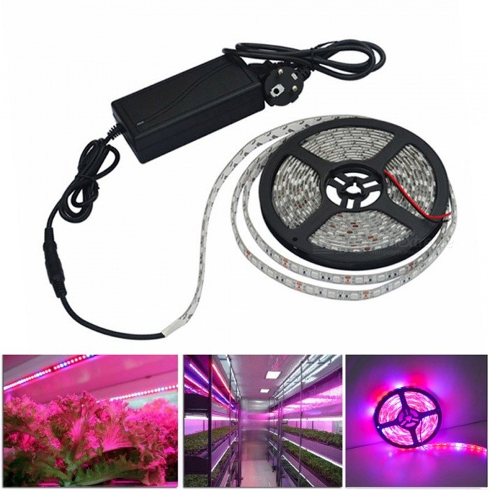 JIAWEN IP65 Waterproof 30W 5050 SMD LED Strip, Plant Growth Light (5m)5050 SMD Strips<br>Form  ColorWhite + Black + Multi-ColoredColor BINRed And BlueMaterialPlasticQuantity1 setPower30WRated VoltageAC 100-240 VChip BrandEpistarEmitter Type5050 SMD LEDTotal Emitters300Wavelength700-635nm(Red) 490-450nm(Blue)Theoretical Lumens2400 lumensActual Lumens2400 lumensPower AdapterEU PlugPacking List1 x 5m Led strip1 x 5A power supply<br>