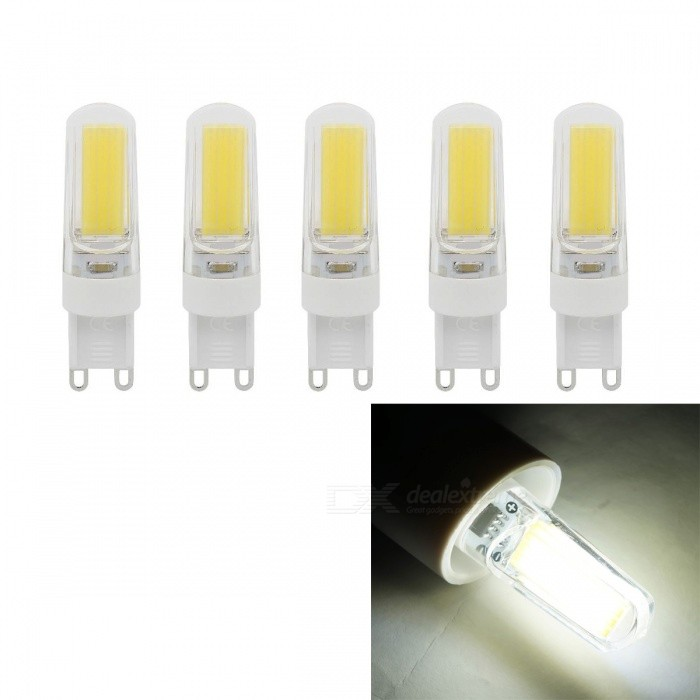 JRLED G9 5W 400lm COB LED Cold White Light Ceramic Bulbs (5 PCS)G9<br>Color BINCold WhiteMaterialCeramic + PCForm  ColorWhite + Yellow + Multi-ColoredQuantity5 piecesPower5WRated VoltageAC 220 VConnector TypeG9Chip BrandEpistarChip TypeCOBEmitter TypeCOBTotal Emitters1Theoretical Lumens500 lumensActual Lumens400 lumensColor Temperature6500KDimmableYesBeam Angle360 °WavelengthN/ACertificationCE ROHSPacking List5 x G9 LED Lamps<br>