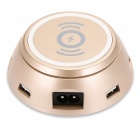 6 USB Ports Charging Dock Station with Wireless Charging - Golden