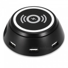 6 USB Output Ports Charging Dock Station with Wireless Charging -Black