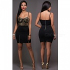Buy Sexy Two-Piece Harness Halter Top Package Hip Skirt - Black (XL)