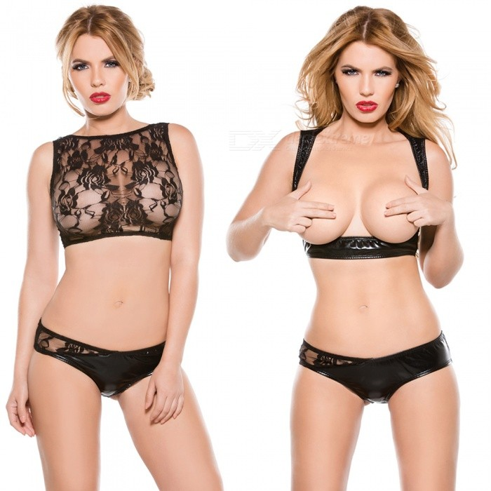 Sexy Lace Splicing Patent Leather Lingerie Suit - Black (Free Size)Sexy Lingerie<br>Form  ColorBlackSizeFree SizeQuantity1 setShade Of ColorBlackMaterialLace + patent leatherStyleUltra SexyShoulder Width34-37 cmChest Girth88-98 cmTotal Length32 cmPacking List1 x Top1 x Underwear<br>