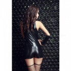 Sexy Patent Leather Zipper One-Piece Sleeveless Underwear - Black
