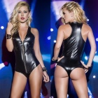 Vest-style Patent Leather One-Piece Zipper Sexy Underwear - Black