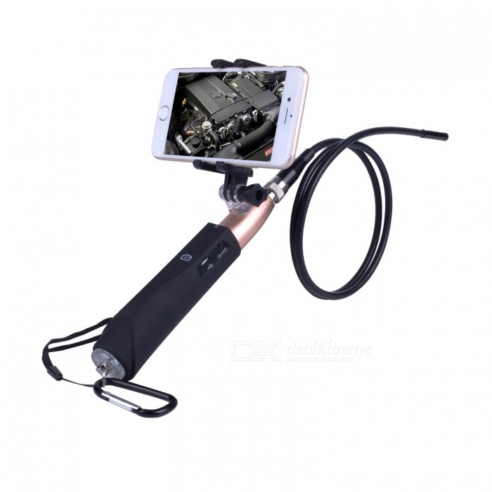 BLCR 5.5mm 6-LED Waterproof Handheld Wi-Fi Endoscope - Golden (1m)Microscopes &amp; Endoscope<br>Snake Cable LengthGolden (1M)ModelN/AQuantity1 pieceForm  ColorGoldenMaterialMetal + PlasticCamera Pixels0.3MPCompatible OSIOS / Android / WindowsCamera head outer diameter5.5mmLED Bulb Qty6Packing List1 x WIFI Tube Endoscope 1 x WIFI handle 1 x Small hook 1 x Magnet 1 x Side mirror1 x USB cable 1 x Portable hook 1 x User manual<br>