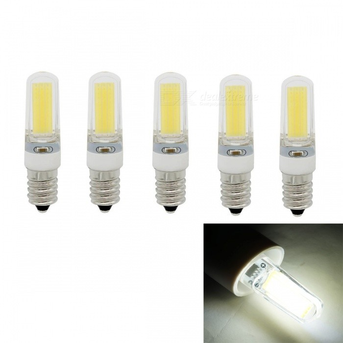 JRLED E14  5W 400lm COB LED Cold White Light Ceramic Bulbs (5PCS)