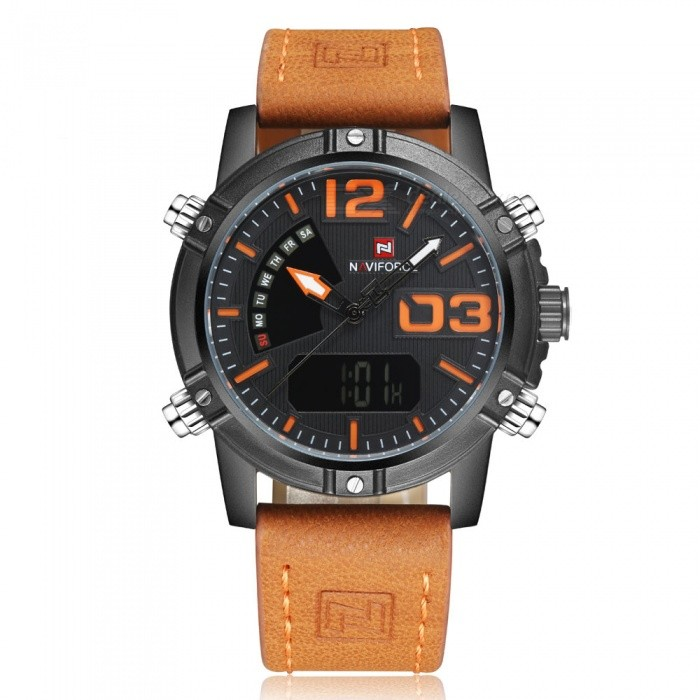 NAVIFORCE NF9095 Mens Sports Army Leather Wrist Quartz Watch - OrangeSport Watches<br>Form  ColorOrange (With Gift Box)ModelNF9095Quantity1 pieceShade Of ColorOrangeCasing MaterialStainless SteelWristband MaterialLeatherSuitable forAdultsGenderMenStyleWrist WatchTypeSports watchesDisplayAnalog + DigitalMovementQuartzDisplay Format12/24 hour time formatWater ResistantWater Resistant 3 ATM or 30 m. Suitable for everyday use. Splash/rain resistant. Not suitable for showering, bathing, swimming, snorkelling, water related work and fishing.Dial Diameter4.5 cmDial Thickness1.5 cmWristband Length25 cmBand Width2.4 cmBattery1 x Button batteryPacking List1 x Watch1 x Gift Box<br>