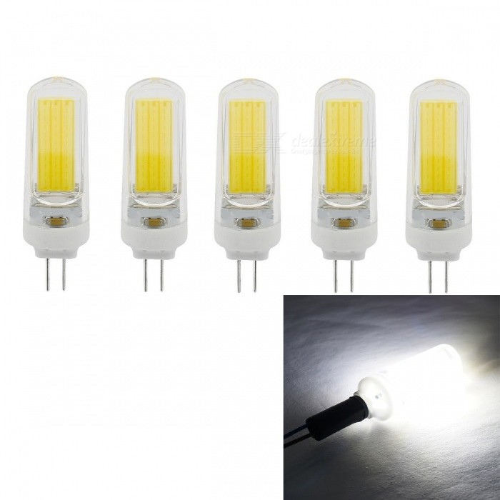 JRLED G4 5W 400lm COB LED Cold White Light Ceramic Bulbs (5PCS)