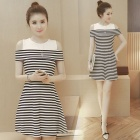 Stitching Strapless Slim Short Sleeves Striped Dress for Lady, Thin Waist Design