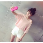 Oblique Shoulder Fashion Loose Polyester T-shirt - Pink (L)