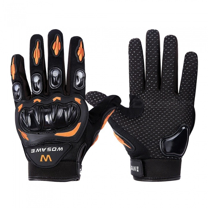 WOSAWE BST-015 Motorcycle Full-Finger Gloves - Orange�� Black (M)