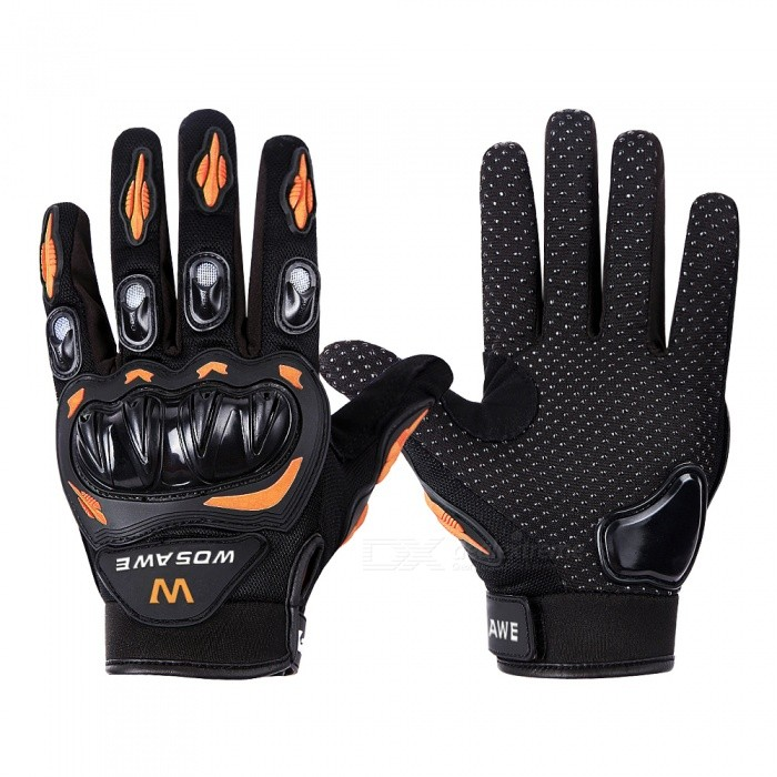 WOSAWE BST-015 Motorcycle Full-Finger Gloves - Orange�� Black (L)
