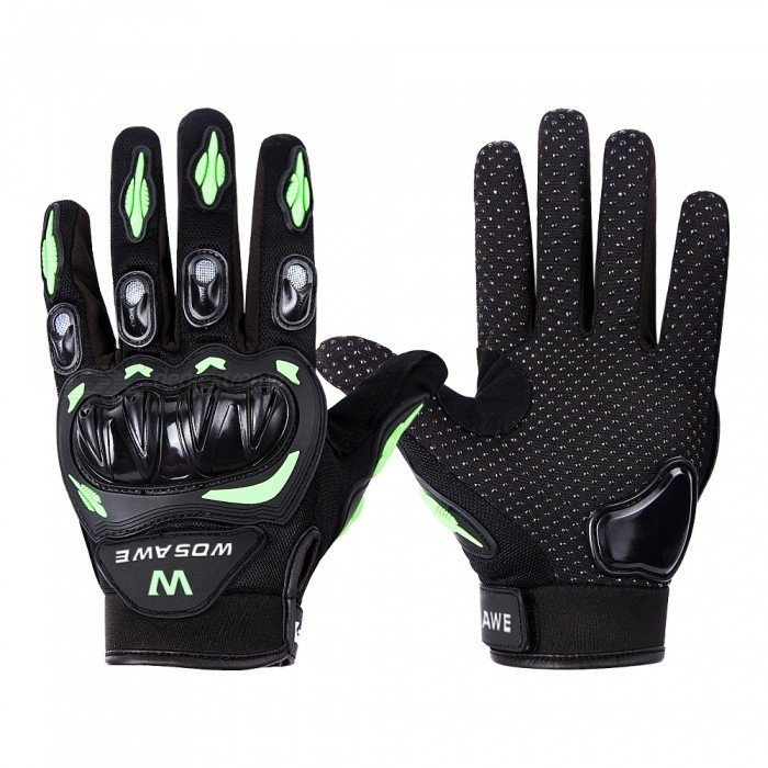 WOSAWE BST-015 Motorcycle Full-Finger Gloves - Green�� Black (L)